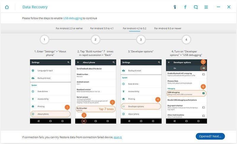 Android Dados Recuperação Passo 1