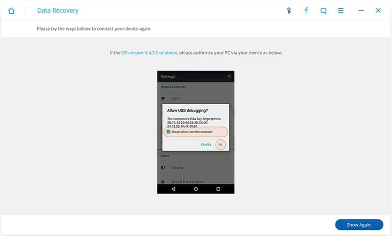 Android Dados Recuperação Passo 2